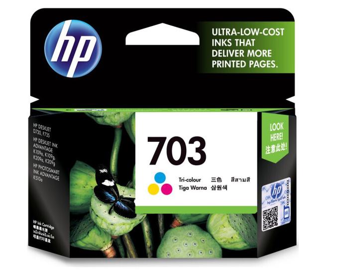 惠普(HP)703原装墨盒适用109a/K209a/K510a/F735/D730打印机墨盒 703墨盒彩色(约250页)
