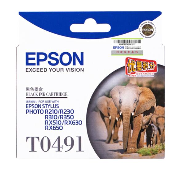 爱普生(EPSON) T0491/6黑色墨盒R210/R230/310/RX510/650 打印机 T0491黑色(约630页)