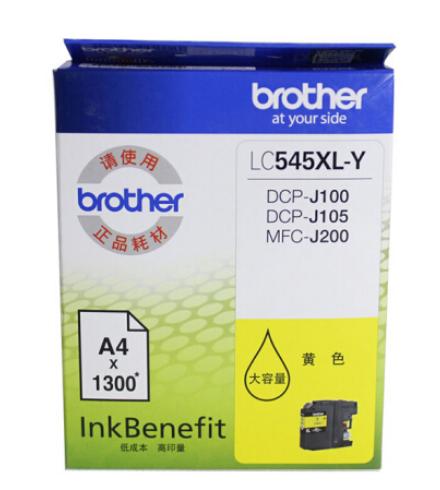 兄弟LC-549/545XL大容量墨盒适用DCP-J100 J105 MFC-J200 LC-545XL-Y黄色(约1300页) 原装墨盒