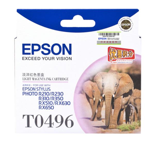 爱普生(EPSON) T0491/6黑色墨盒R210/R230/310/RX510/650 打印机 T0496浅红色(约630页)