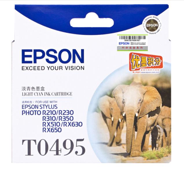 爱普生(EPSON) T0491/6黑色墨盒R210/R230/310/RX510/650 打印机 T0495浅青色(约630页)