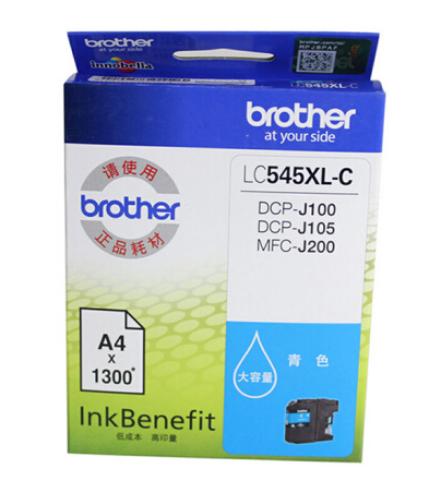 兄弟LC-549/545XL大容量墨盒适用DCP-J100 J105 MFC-J200 LC-545XL-C青色(约1300页) 原装墨盒