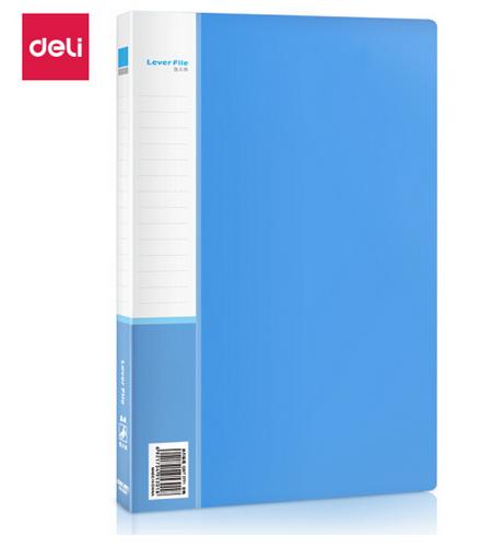 得力(deli)A4金属单强力夹+插页袋硬文件夹 大容量试卷资料夹诗朗诵签约夹板 文件收纳办公用品5301蓝色1只