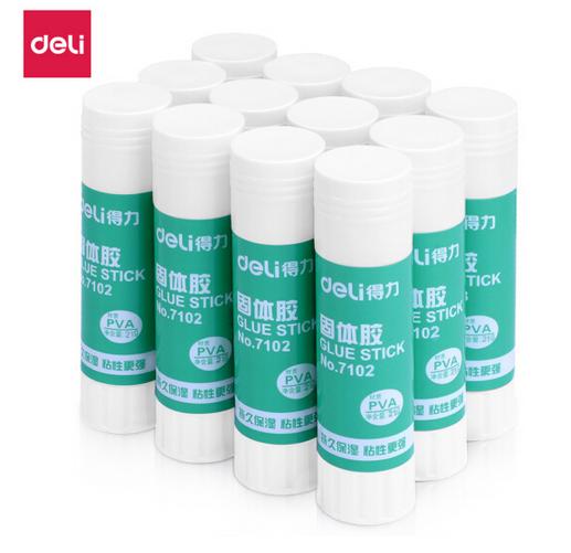 得力(deli)21g高粘度PVA固体胶水/胶棒 12支/盒 办公用品 7102
