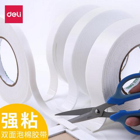 得力(deli)双面泡沫胶带 强力泡沫海绵胶 厚型双面胶条 30410 (12mmx4.5米)1卷装