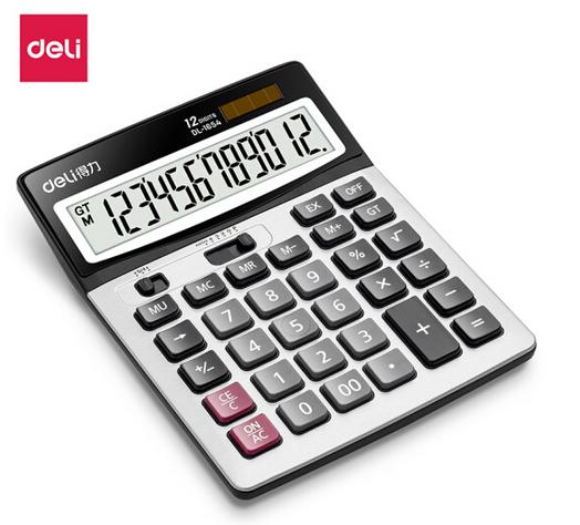 得力(deli)双电源宽屏办公桌面计算器 财务计算机 办公用品 银灰色1654