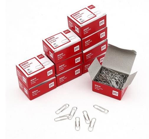 得力(deli) 0018 银色金属回形针曲别针财使用品办公用品 十盒装 0018 回形针100枚/盒 10盒装