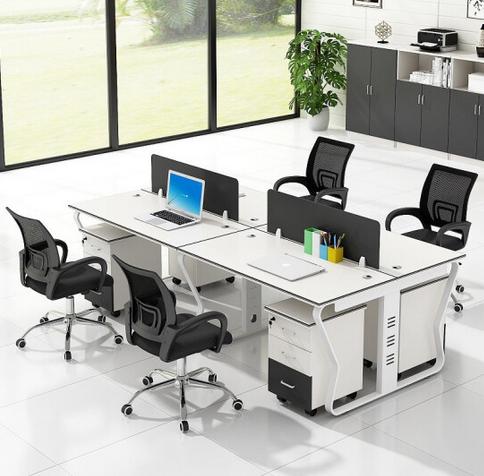 办公家具办公桌椅组合现代简约职员办公桌2人4人6人屏风工位卡座 四人位(不含柜椅)